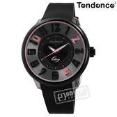 Tendence 天勢表 / TY630401 / 甜蜜幻想 立體刻度 520 礦石強化玻璃 矽膠手錶 黑色 51mm