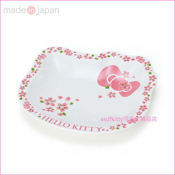 asdfkitty可愛家☆KITTY臉型櫻花陶瓷中淺盤/餐盤/水果盤-47632N-可微波-可用洗碗機-日本製
