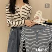 秋季2020新款韓版修身顯瘦長袖針織衫女復古撞色內搭條紋套頭上衣
