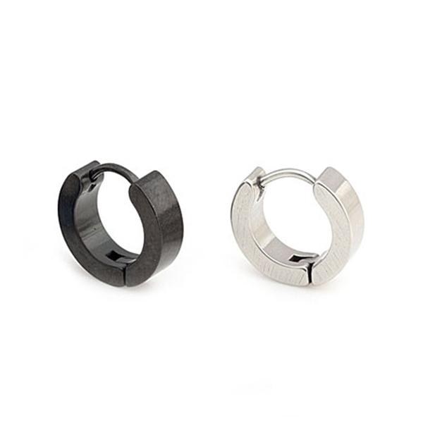 316L醫療鋼 平面素鋼 耳環耳圈扣-銀、黑 防抗過敏 單支販售