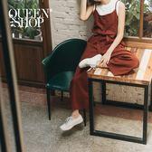 Queen Shop【04050512】素色荷葉造型細肩連身褲 兩色售*現+預*