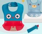飯兜矽膠圍兜寶寶吃飯嬰兒童餵食圍嘴防口水立體超軟  宜室家居