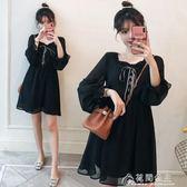 雪紡裙-新款洋氣赫本雪紡小黑裙大碼女裝寬鬆性感減齡打底 花間公主
