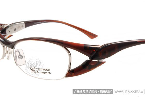 【金橘眼鏡】Vanessa Mehdi眼鏡 強悍視覺#VM0902 C0007 咖啡色 半框 -全球專利可調式鏡臂 (免運)