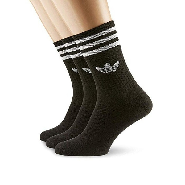 L-adidas Original ADICOLOR 三葉草 襪子 休閒襪 黑色 中筒襪 3雙入 DX9092