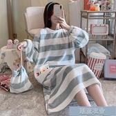 睡裙 長袖睡裙女秋冬中長款法蘭絨睡衣女春秋季可外穿韓版珊瑚絨家居服【618優惠】