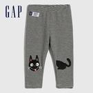Gap嬰兒 可愛動物刺繡鬆緊休閒褲 485217-灰色條紋