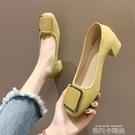 單鞋女2020春韓版方頭金屬扣淺口豆豆鞋女網紅百搭粗跟奶奶鞋女鞋 依凡卡時尚