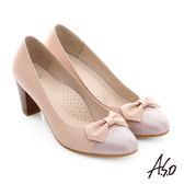 A.S.O 逸麗知性 真皮異材質蝴蝶結窩心高跟鞋  粉紅