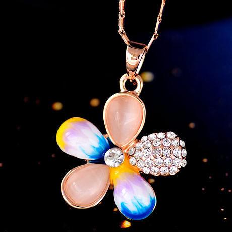 夏沐新款 鎖骨鏈 彩色櫻花時尚掛件
