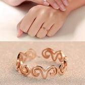 玫瑰金純銀戒指-鏤空山羊時尚簡約生日情人節禮物女飾品71am49【巴黎精品】