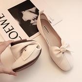 平底方頭單鞋女奶奶鞋季淺口豆豆鞋蝴蝶結一腳蹬瓢鞋【慢客生活】