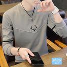 【Y194】shiny藍格子-舒適潮流.冬裝男士圓領長袖上衣