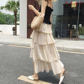 層層蛋糕裙半身裙女波點雪紡長裙