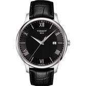 TISSOT 天梭 Tradition 羅馬經典大三針石英手錶-黑/42mm T0636101605800
