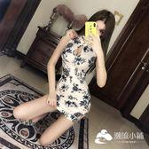 旗袍-裙子女2019春新品時尚開叉鏤空印花氣質顯白改良式少女旗袍連身裙