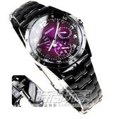 mono 三眼錶 IP黑電鍍 不銹鋼 紫面 星期逆跳 37mm 女錶 時間玩家 5016IP紫小