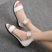 平底涼鞋女百搭學生露趾厚底羅馬豹紋舒適休閒低跟鞋 至簡元素