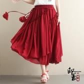 2020夏裝文藝復古雪紡純色長裙 民族風不規則中長款半身裙 十一週年降價