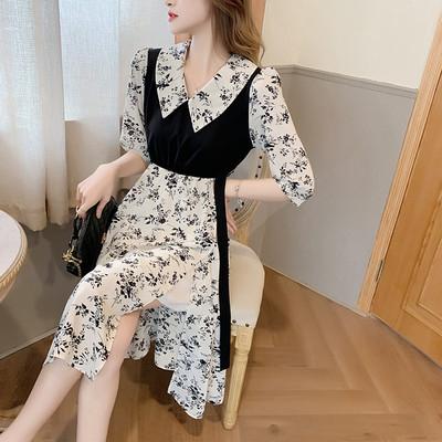 洋裝大碼假兩件連身裙女顯瘦中長款娃娃領開叉裙子1F-A017 胖妹大碼女裝