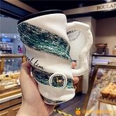 陶瓷杯情侶手柄帶蓋勺咖啡杯喝水家用牛奶馬克杯【小橘子】