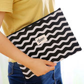 【BlueCat】CLASSIC黑白經典帆布A4拉鍊文具袋