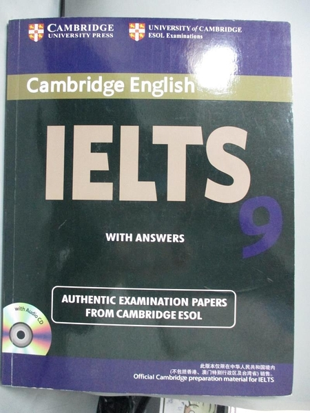 【書寶二手書T8/語言學習_YEU】IELTS Examination Papers with Answers 9_Cambridge English