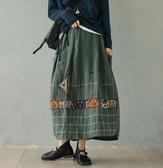 *花漾e裳*裙子【原創氣質亞麻線格刺繡復古長裙】