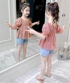 女童上衣 女童夏裝襯衫2020新款韓版兒童洋氣碎花時髦童裝女孩雪紡 交換禮物