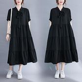 雪紡連身裙女裝大碼寬鬆顯瘦夏季仙氣法式微胖mm超大擺黑色長裙子 中大尺碼短袖洋裝