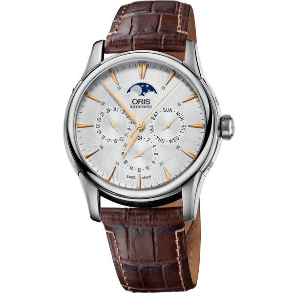 ORIS 豪利時 Artelier藝術家多功能月相盈虧機械手錶-銀/40mm 0158276894021-0752170FC