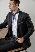 SST&C 男裝 藍色變形蟲領巾   4812003003