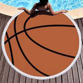 沙灘巾 球類 圖騰 印花 流蘇 野餐巾 海灘巾 圓形沙灘巾 150*150【YC021】 icoca  04/03