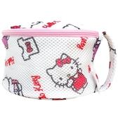 小禮堂 Hello Kitty 圓筒網狀洗衣袋 洗衣網袋 護洗袋 (粉白 滿版) 4710243-59606