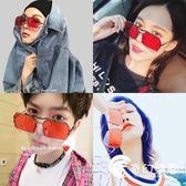 網紅墨鏡潮流眼鏡男女大紅色金屬方框多邊形不規則個性翻蓋太陽鏡-奇幻樂園