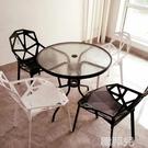 洽談桌 鋼化玻璃圓桌洽談桌 椅組合戶外小桌子現代簡約鐵藝餐桌休閒咖啡桌 mks韓菲兒
