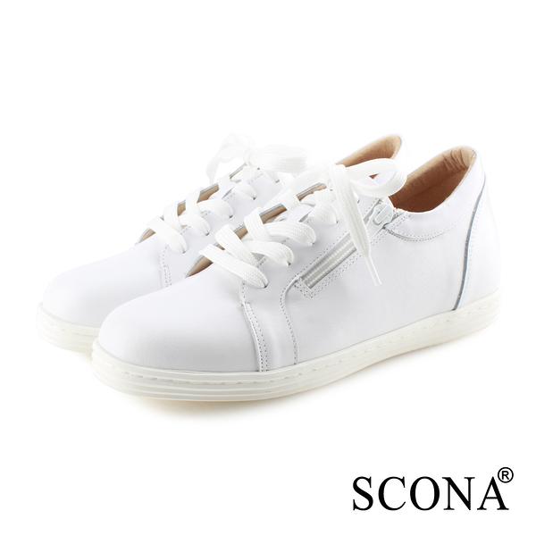 SCONA 蘇格南 全真皮 樂活綁帶內增高休閒鞋 白色 7326-1
