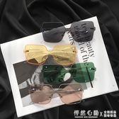 新款韓版復古無邊框墨鏡女ins網紅素顏大框顯瘦太陽鏡綠色ulzzang 怦然心動
