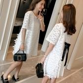 漂亮小媽咪 蕾絲洋裝【D2371】 高質感 短袖 蕾絲 百褶 雪紡 孕婦裝 連身裙 孕婦洋裝