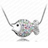項鍊 925純銀 鑲鑽墜飾-可愛小魚生日情人節禮物女飾品銀飾5色73aj585【時尚巴黎】