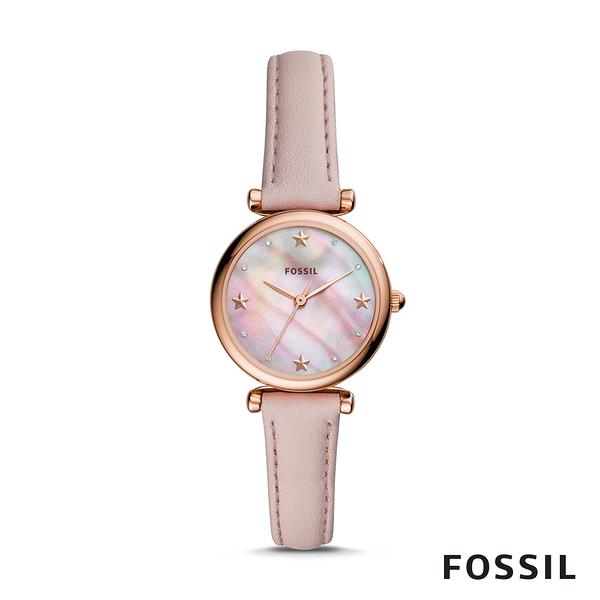 FOSSIL CARLIE MINI 粉色星星迷你皮革女錶 28mm