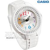 CASIO卡西歐 LX-500H-7B 潛鑽女王簡潔時尚風指針日曆腕錶 耀眼錶圈水鑽 白X彩虹數字 LX-500H-7BVDF