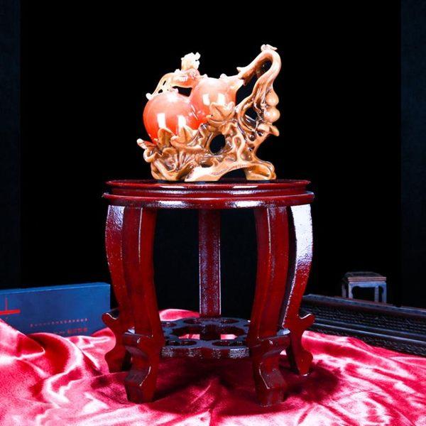 花盆景花瓶底座實木圓形吊蘭綠蘿木花架 萬客居