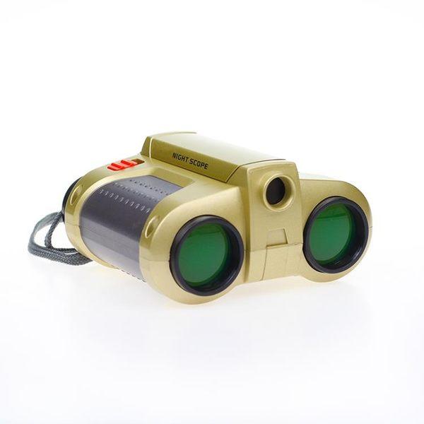 彈出式帶燈雙筒望遠鏡 可調焦綠膜夜視鏡頭兒童科普玩具 生日禮物