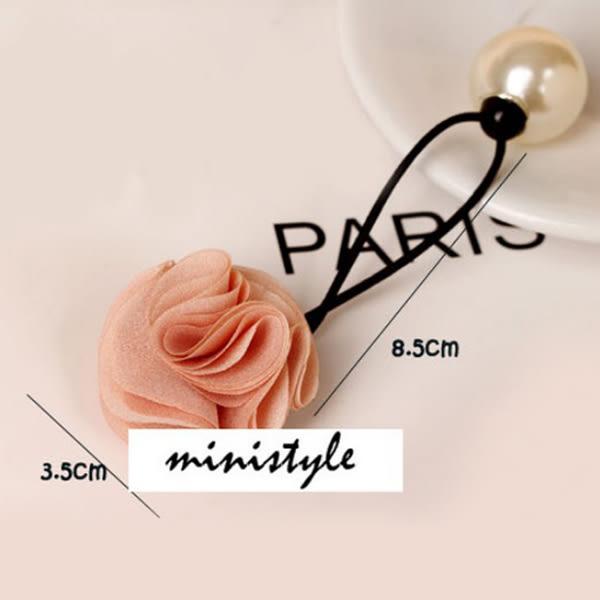 B269900090 韓國 時尚玫瑰花朵大珍珠 髮圈 髮束 頭飾 皮筋髮飾E6260