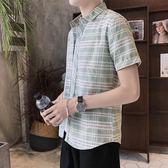 短袖格紋襯衫 格子襯衫男夏季修身潮流薄款襯衣《印象精品》t353