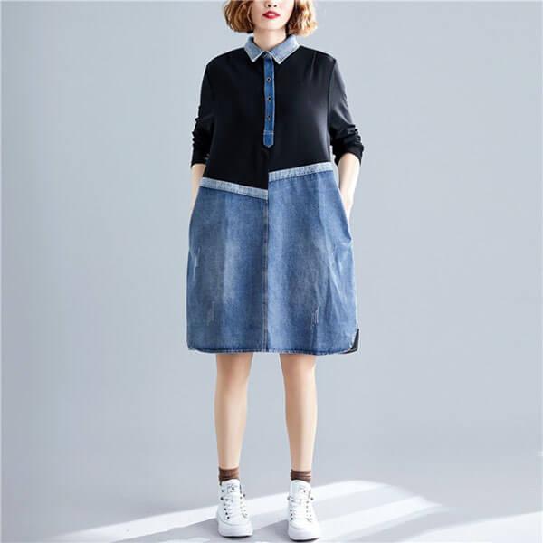 丹寧拼接假兩件洋裝-大尺碼 獨具衣格