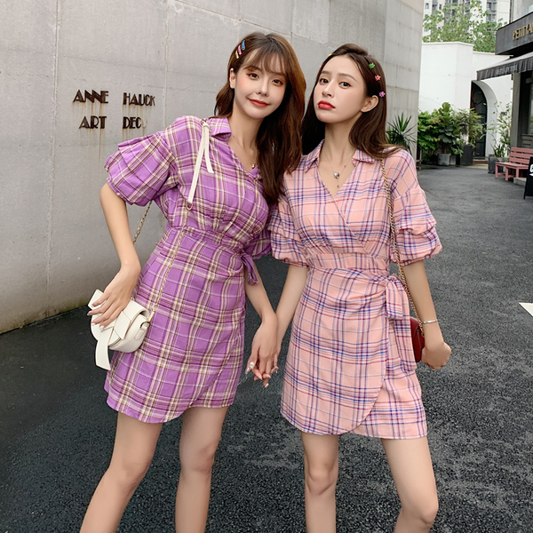 超殺29折 韓國風格紋襯衫性感深V高腰開叉顯瘦短袖洋裝
