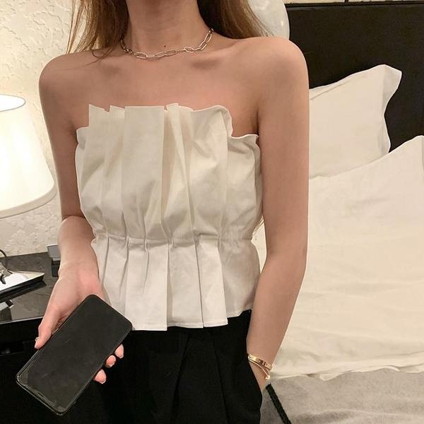 抹胸背心吊帶女2021夏季新款外穿設計感小眾白色內搭辣妹打底上衣 韓國時尚 618