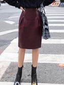 PU半身裙女秋冬新款韓版高腰拉鏈一步包臀裙酒紅色皮裙中裙 衣櫥秘密